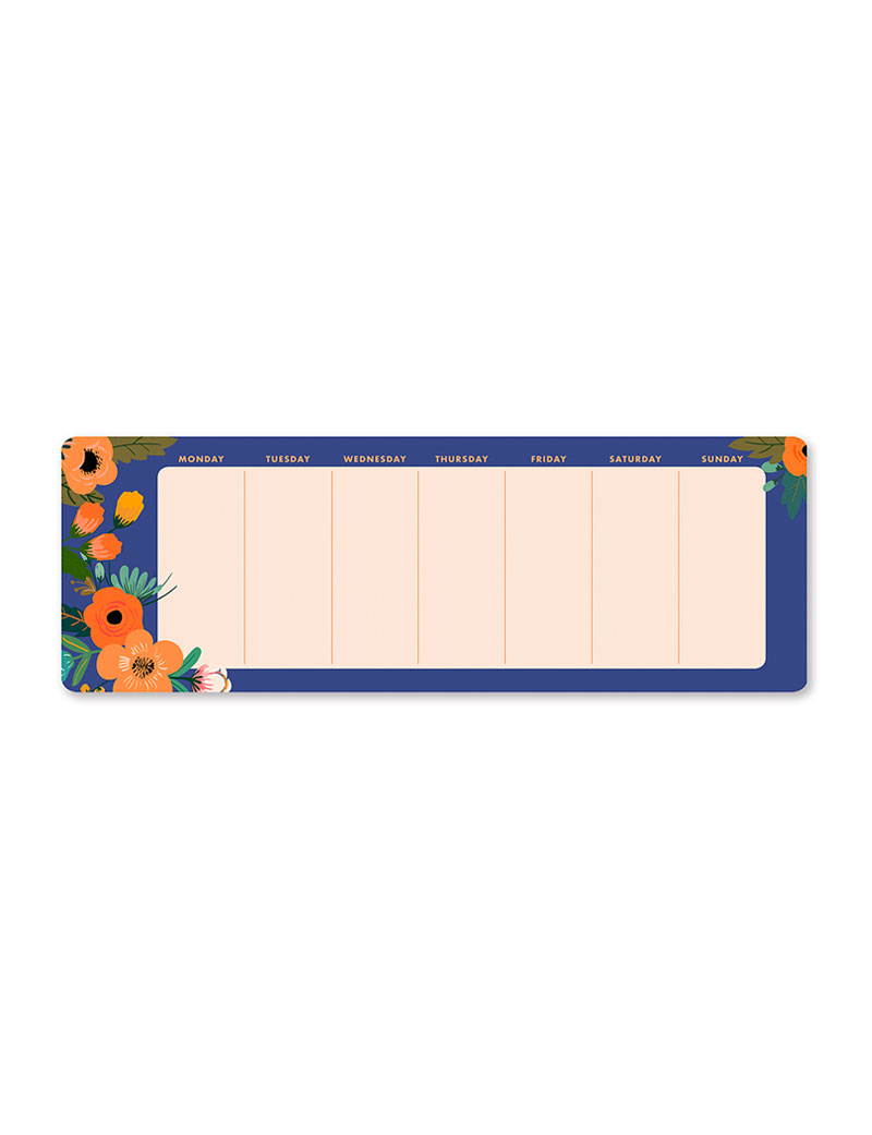 Dream Garden Weekly Planner Notepad, Floral, Large Desk Pad, Goal Setting, Undated