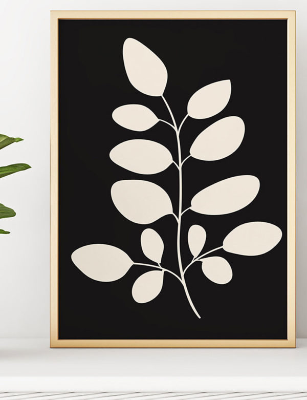 Moringa Leaves Art Print, Black & White
