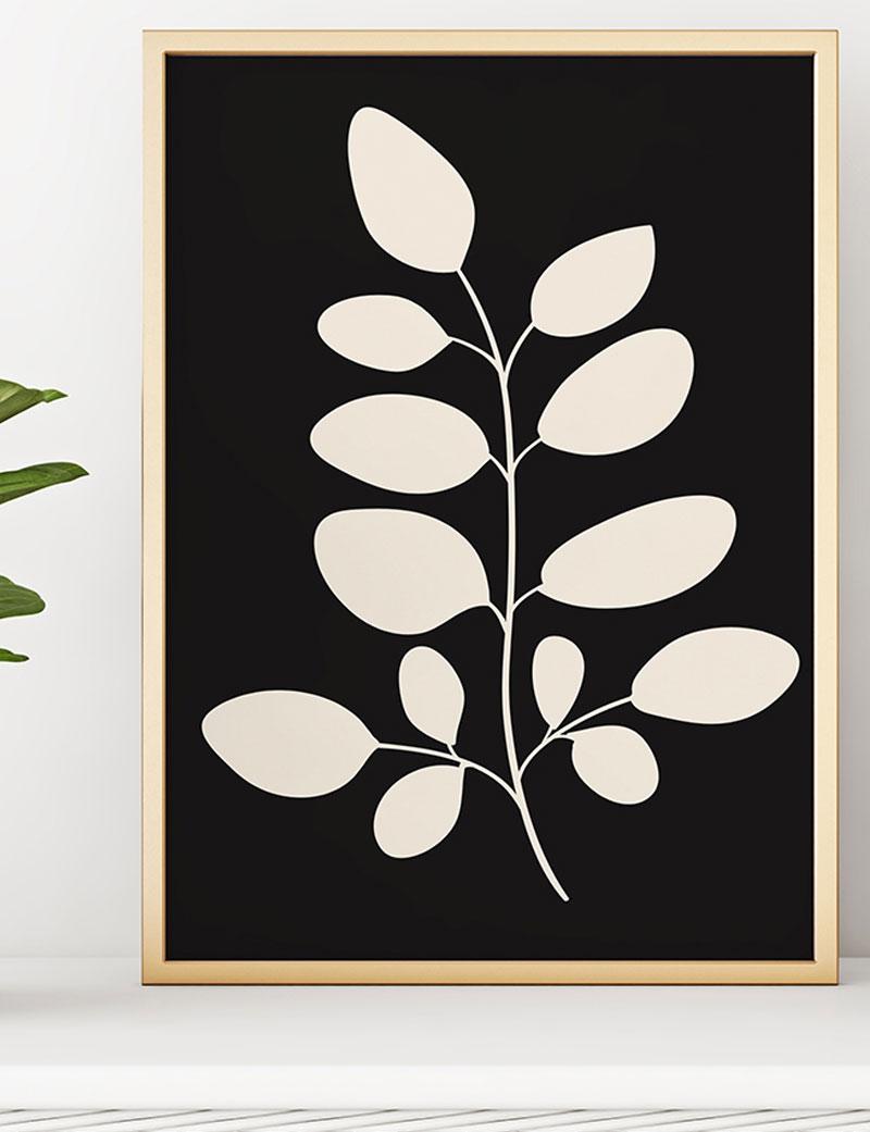 Moringa Leaves Art Print, Black & White