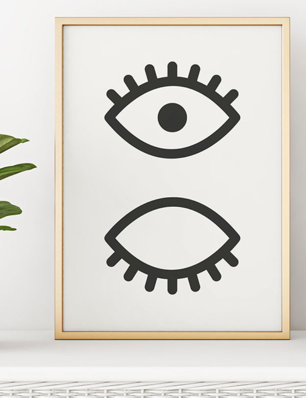 Eye, Lashes Art Print, Black & White