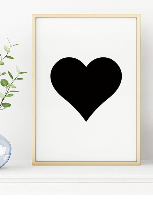 Heart Art Print, Black & White