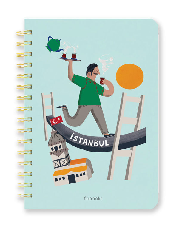 Istanbul Notebook - Hard Cover, Spiral, A5, Hand Drawn Illustration