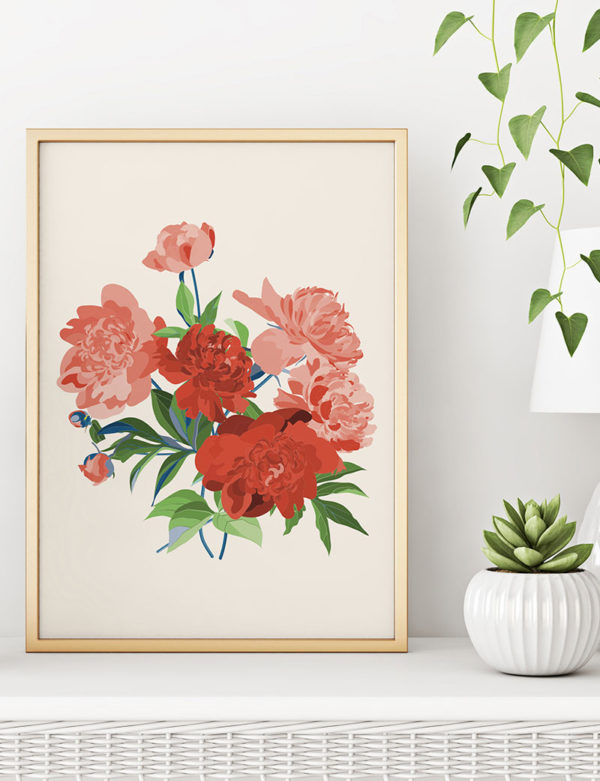 Romantic Pink & Red Peony Bouquet Art Print