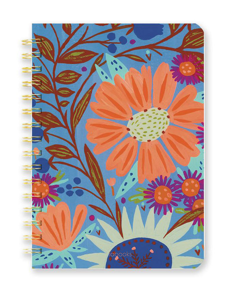 Orange Floral Notebook - Lined, Hardcover, Spiral, Hand Drawn Cover