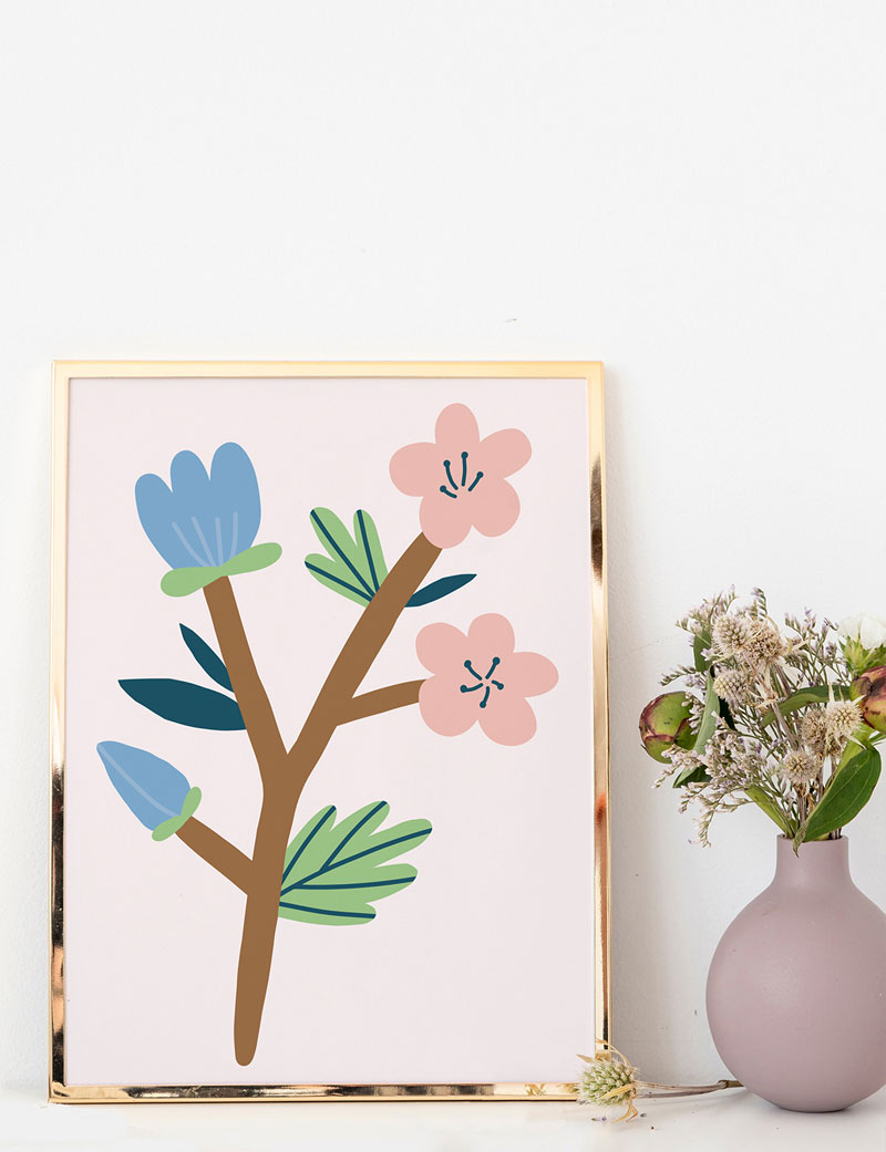 Blue & Pink Flowers Art Print