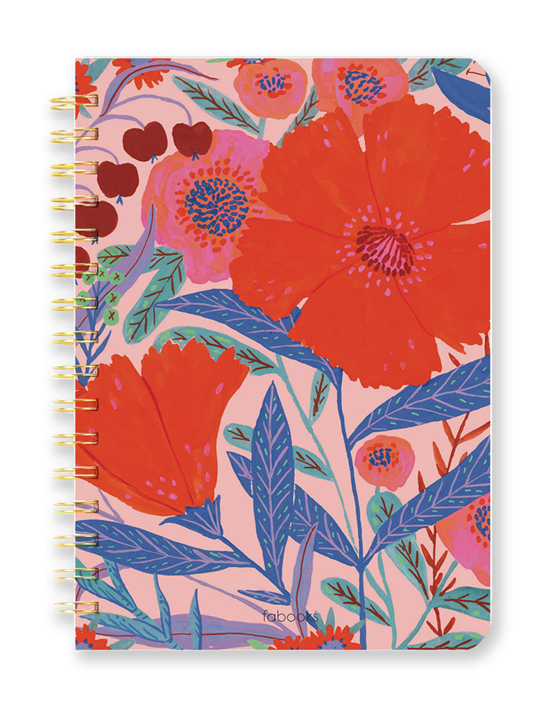 Red Floral Notebook - Lined, Hardcover, Spiral, Hand Drawn Illustration