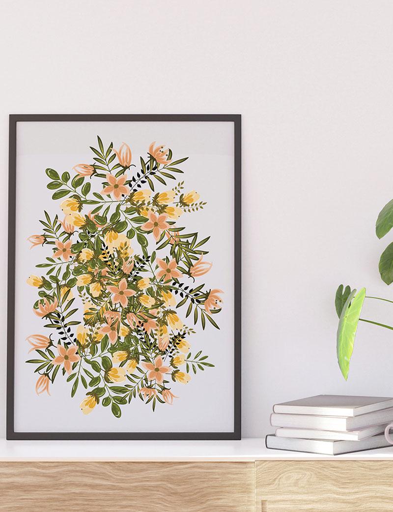Yellow & Green Wildflowers Art Print