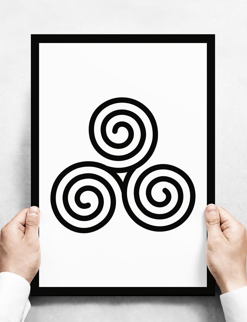 Triskelion, Celtic Triple Spiral Art Print, Black & White