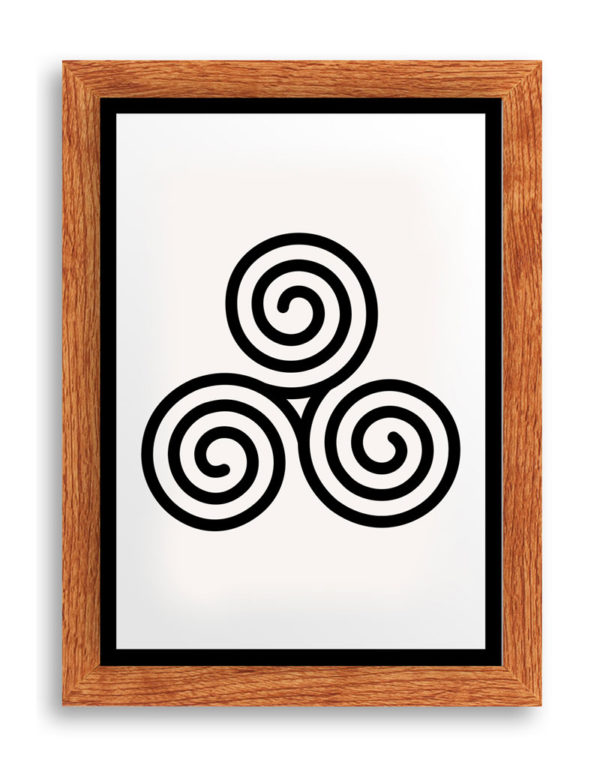 Triskelion, Celtic Triple Spiral Art Print, Black & White