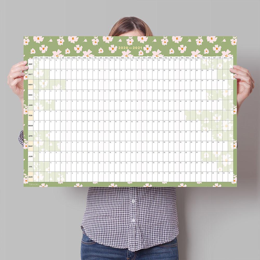 2020-2021 Mid-Year Daisies Academic Year Wall Planner, Calendar