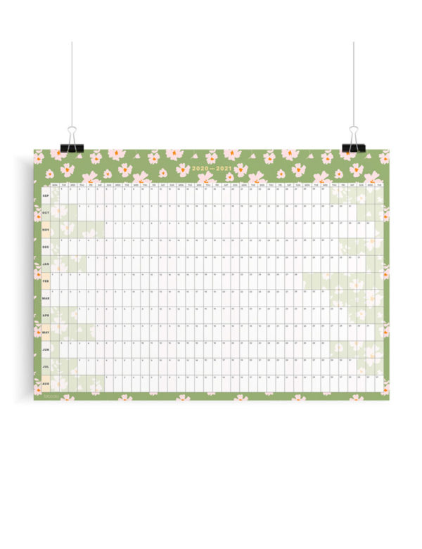 2020-2021 Mid-Year Daisies Academic Year Wall Planner, Calendar