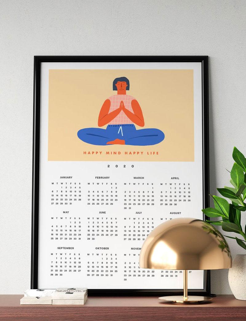Happy Mind Happy Life 2020 Wall Calendar