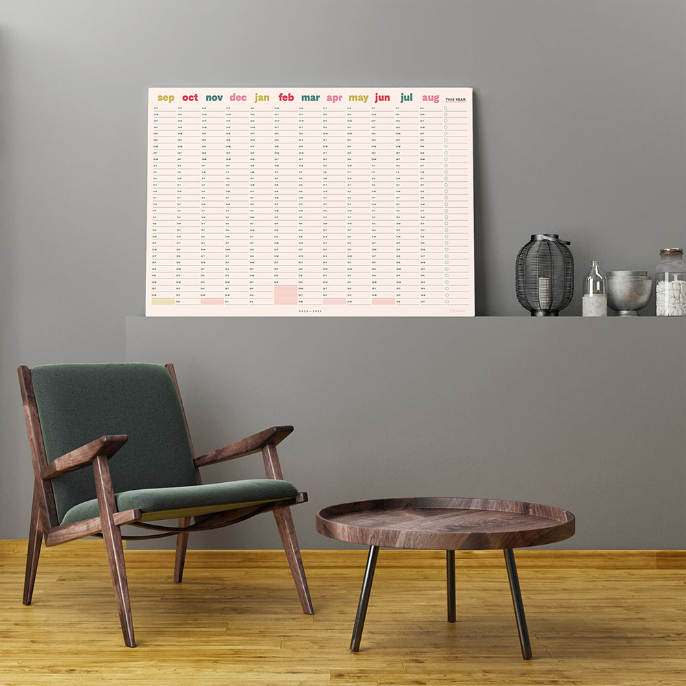 2020-2021 Mid-Year Pink Academic Year Wall Planner, Calendar