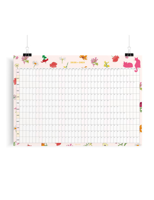2020-2021 Mid-Year Pink Cats Floral Academic Year Wall Planner, Calendar