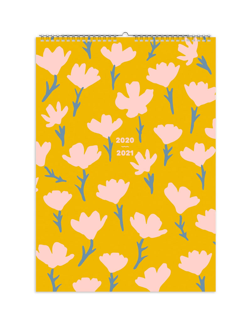 Pink Yellow Floral 2020-2021 Mid-Year Family Calendar
