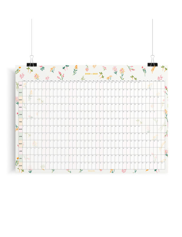 2020-2021 Mid-Year Tiny Floral Academic Year Wall Planner, Calendar