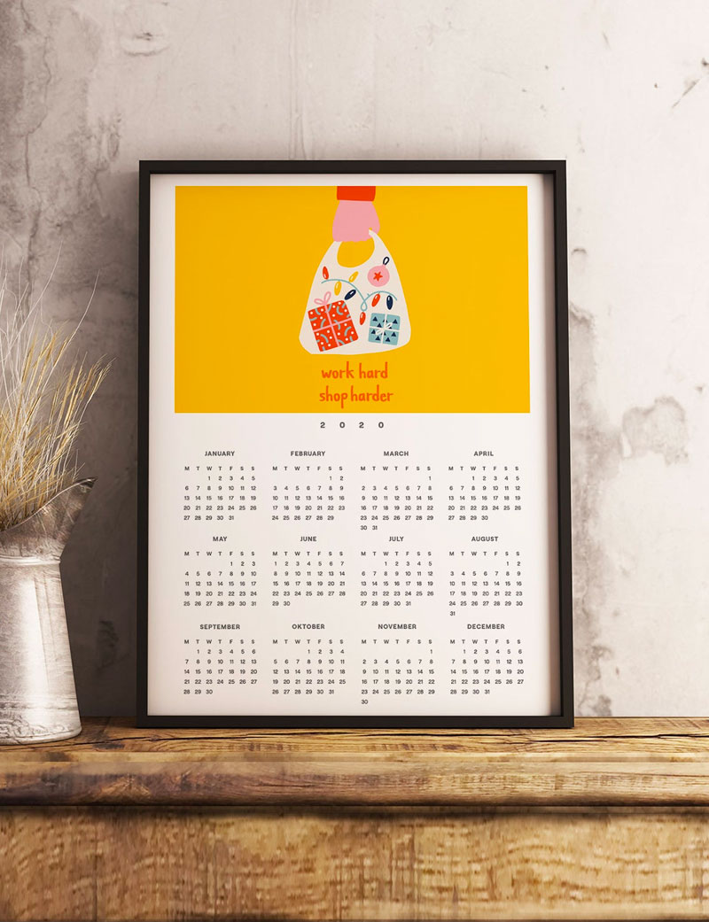 Work Hard, Shop Harder 2020 Wall Calendar