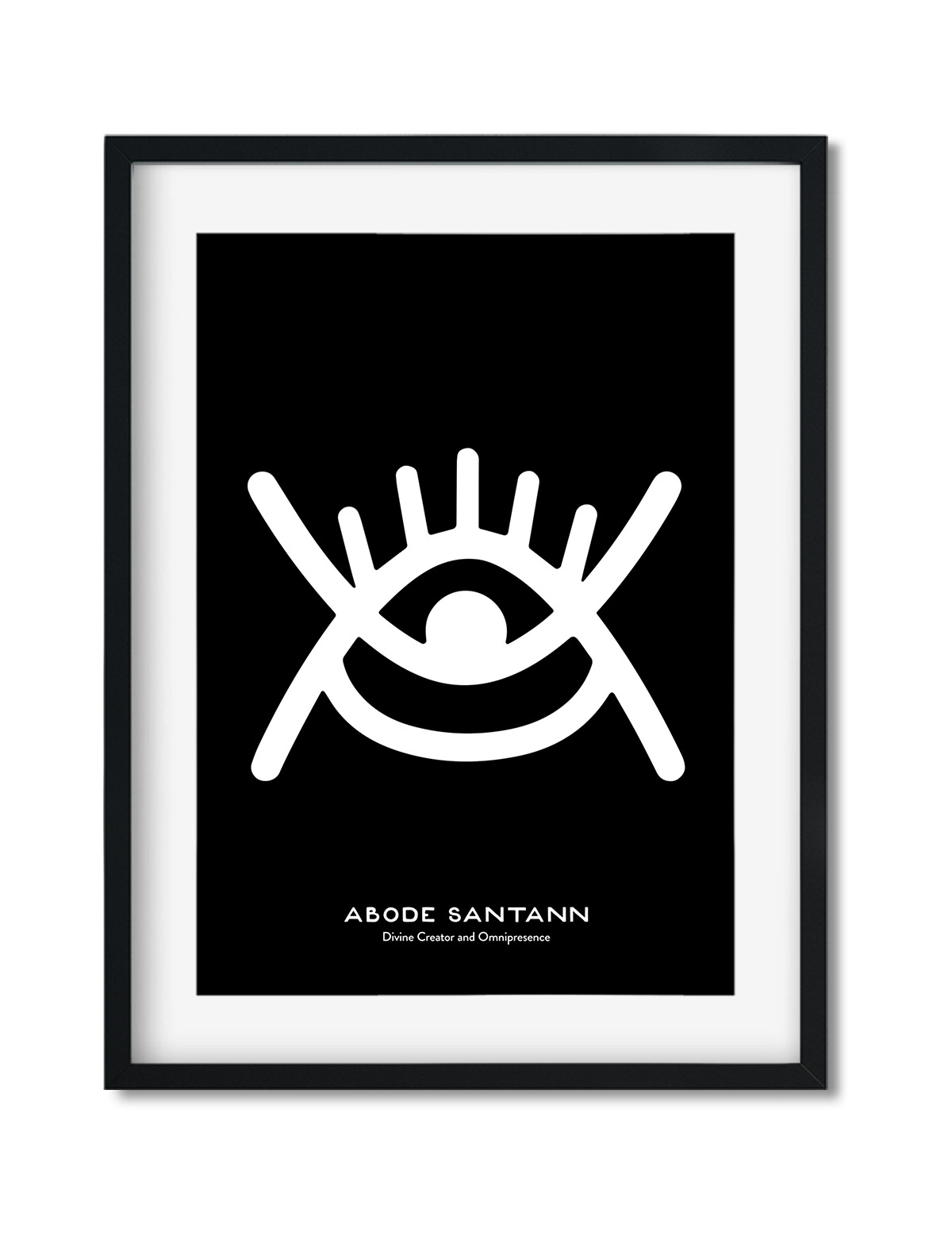 Adobe Santann, Adinkra Symbol, African Art Print Black