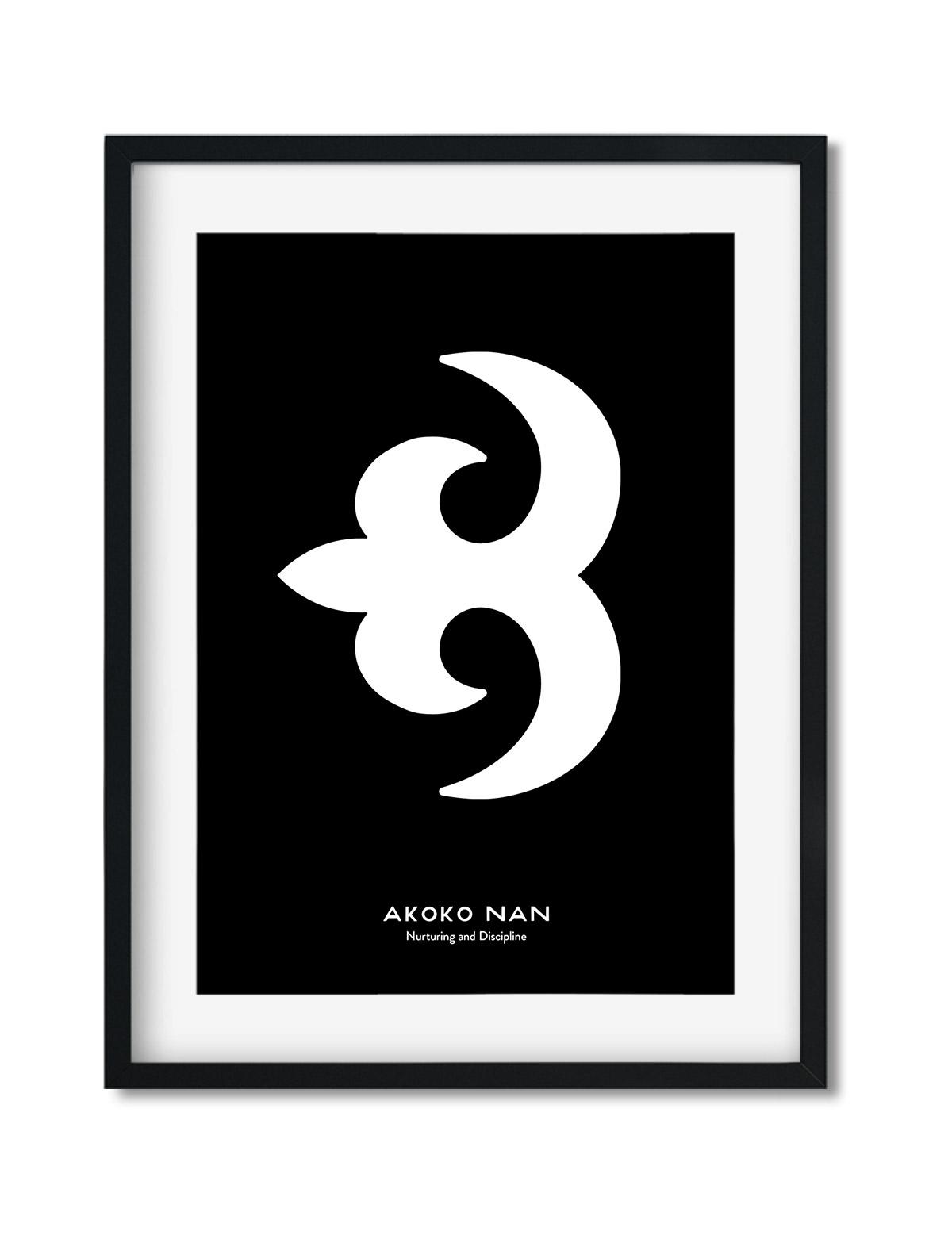 Akoko Nan, Adinkra Symbol, African Art Print Black