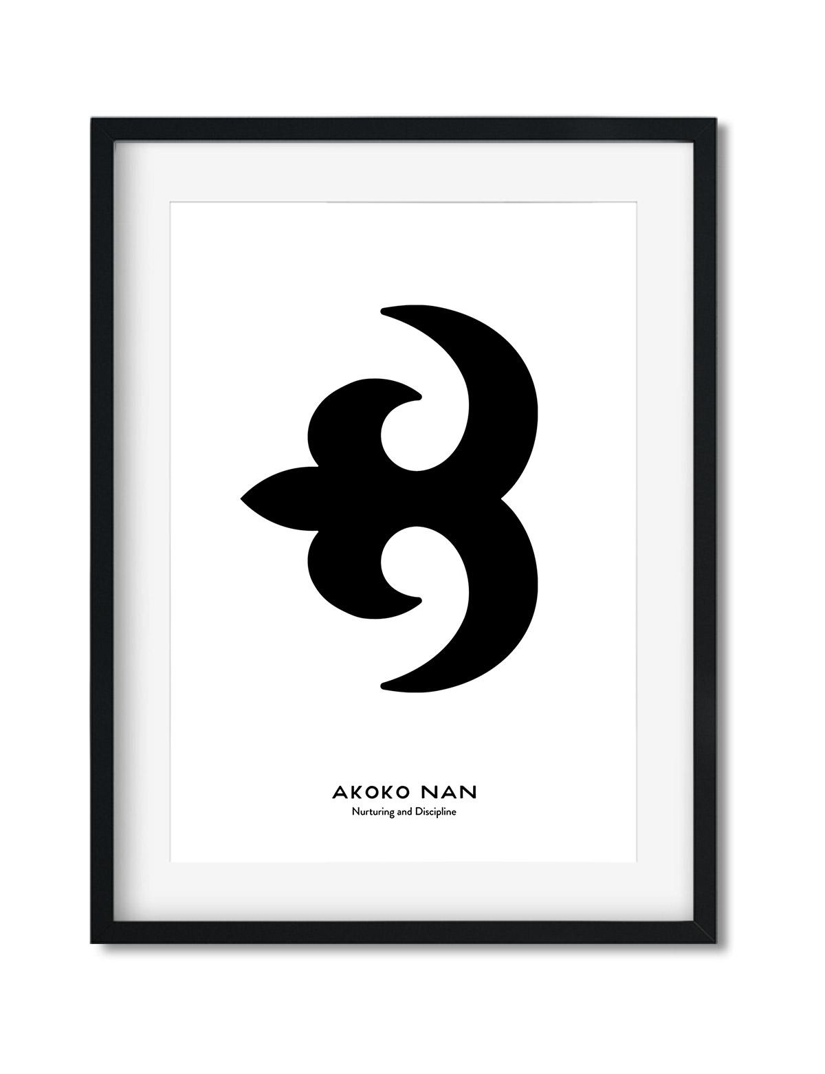 Akoko Nan, Adinkra Symbol, African Art Print