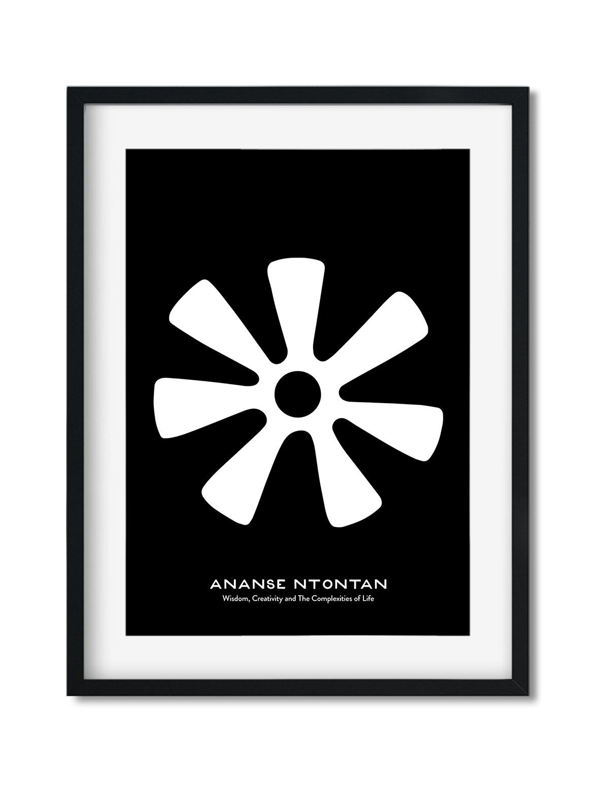 Ananse Ntontan, Adinkra Symbol, African Art Print Black