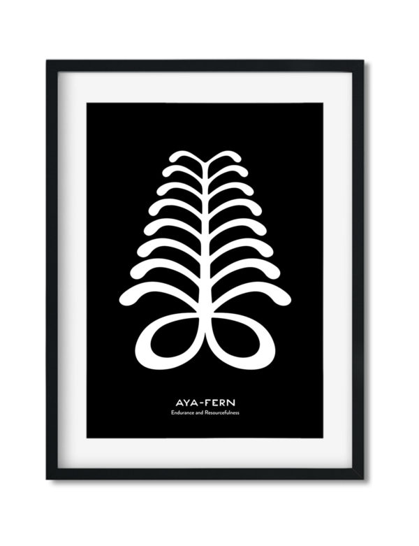 Aya, Adinkra Symbol, African Art Print Black