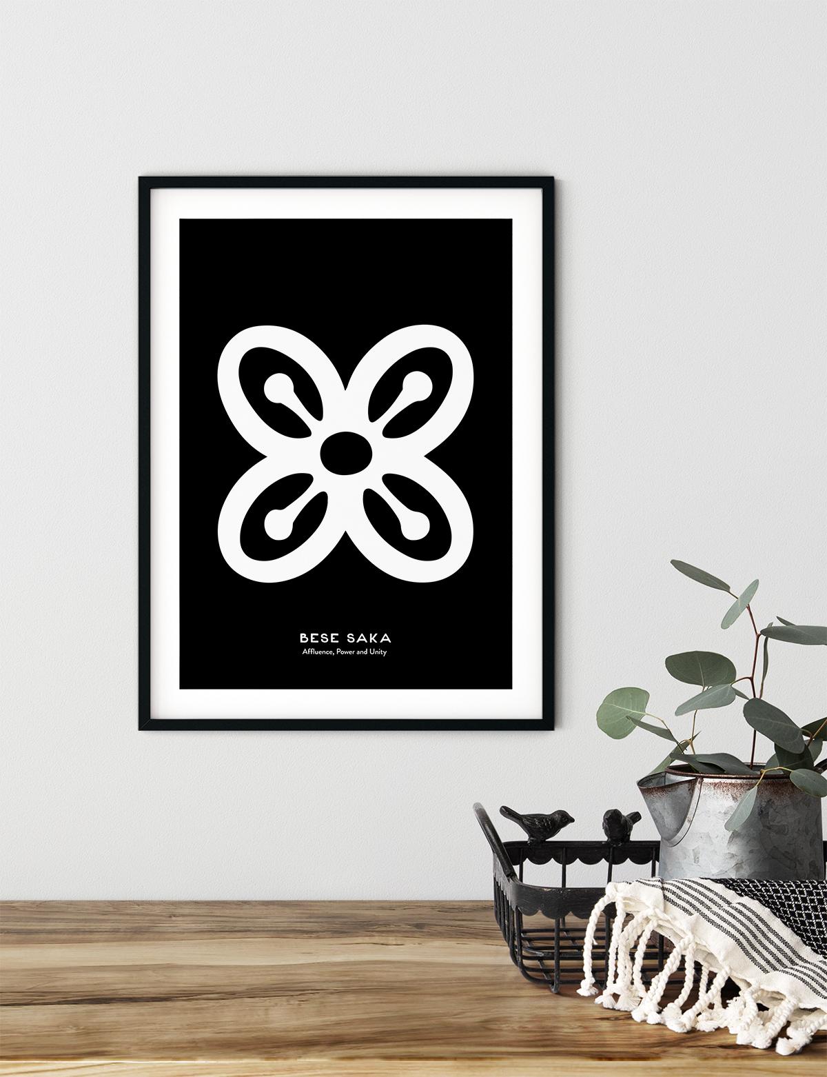 Bese Saka, Adinkra Symbol, African Art Print Black