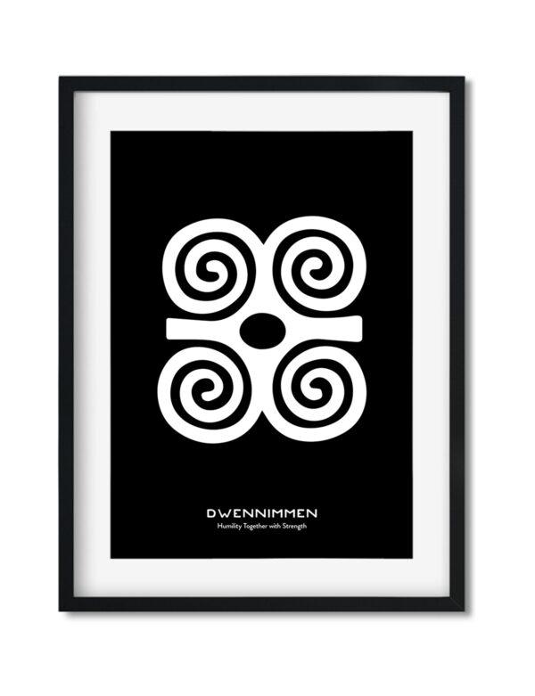 Dwennimmen, Adinkra Symbol, African Art Print Black