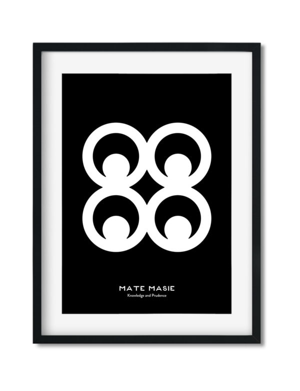 Mate Masie, Adinkra Symbol, African Art Print Black