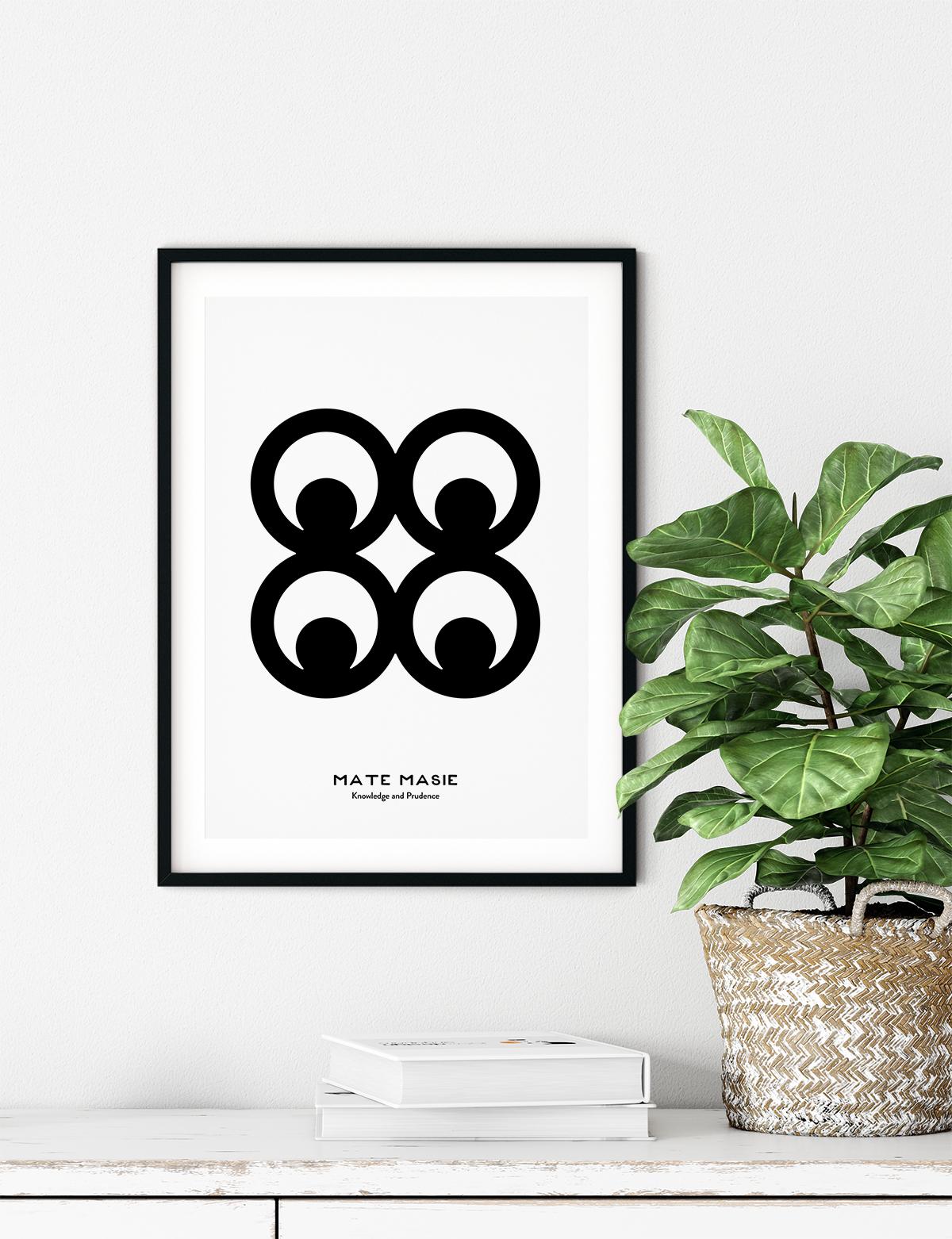 Mate Masie, Adinkra Symbol, African Art Print