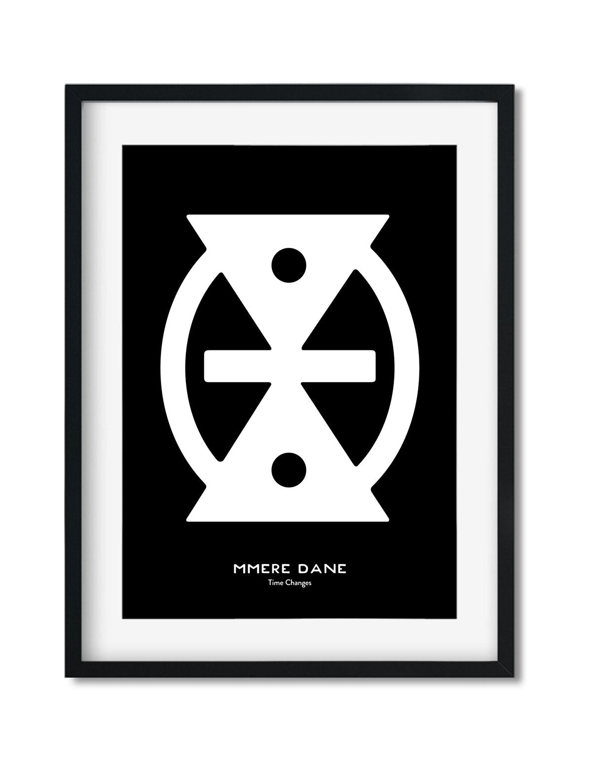 Mmere Dane, Adinkra Symbol, African Art Print Black