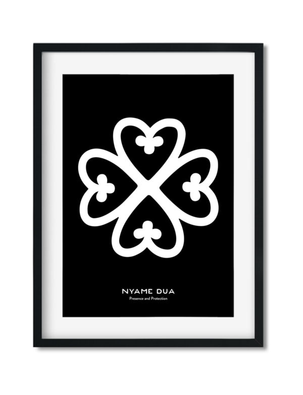 Nyame Dua, Adinkra Symbol, African Art Print Black