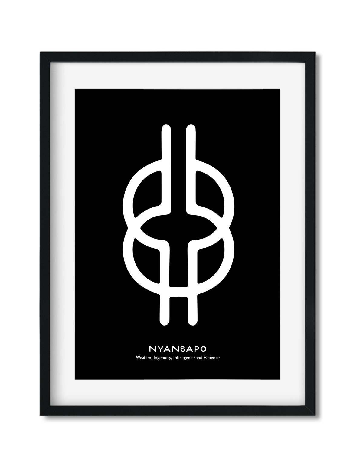 Nyansapo, Adinkra Symbol, African Art Print Black