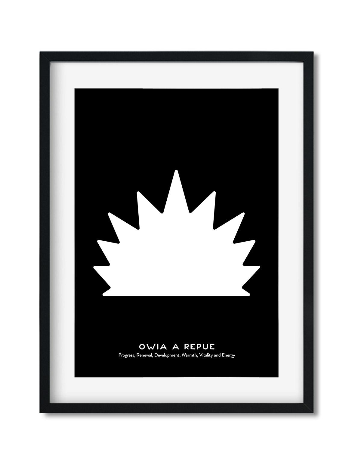 Owia A Repue, Adinkra Symbol, African Art Print Black