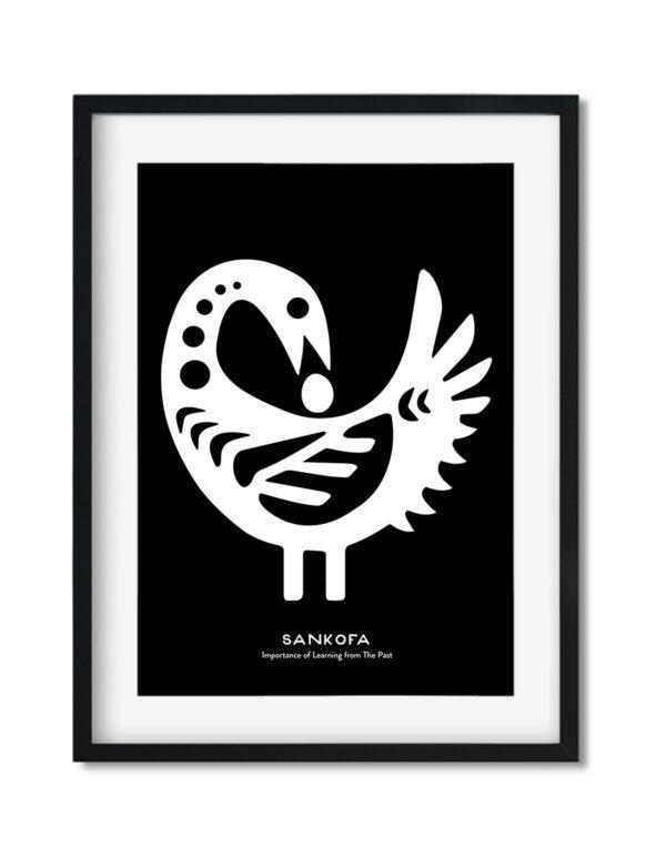 Sankofa Bird, Adinkra Symbol, African Art Print Black