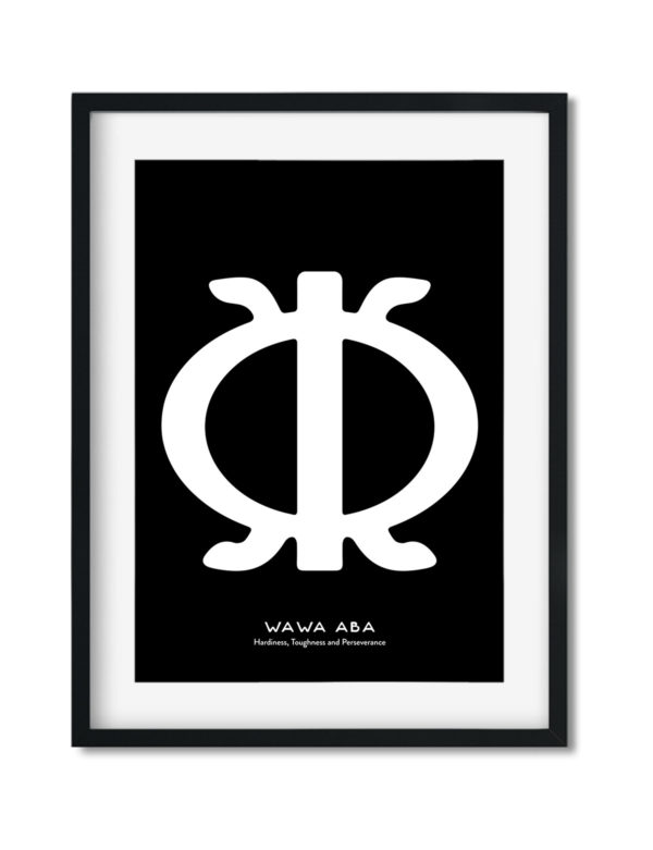 Wawa Aba, Adinkra Symbol, African Art Print Black