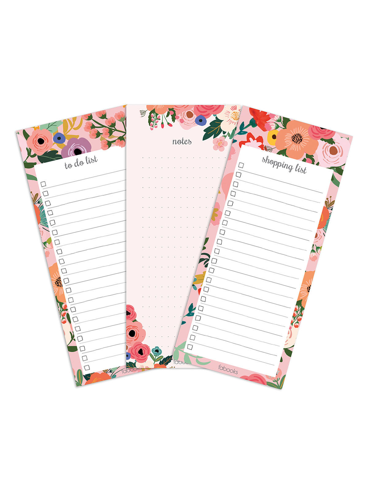 Floral Set Of 3 Notepads