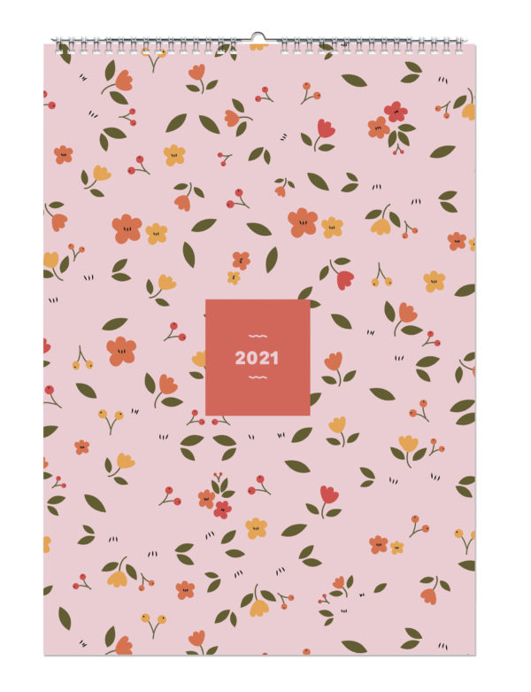 Flower 2021 Monthly Wall Calendar A3