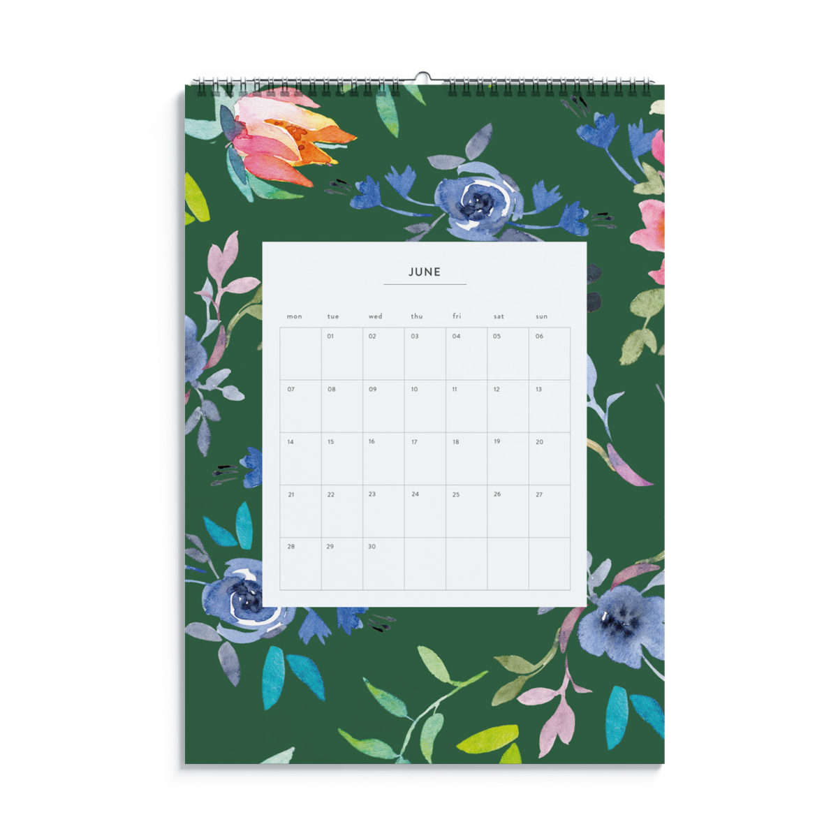 Watercolour Flowers 2021 Monthly Wall Calendar