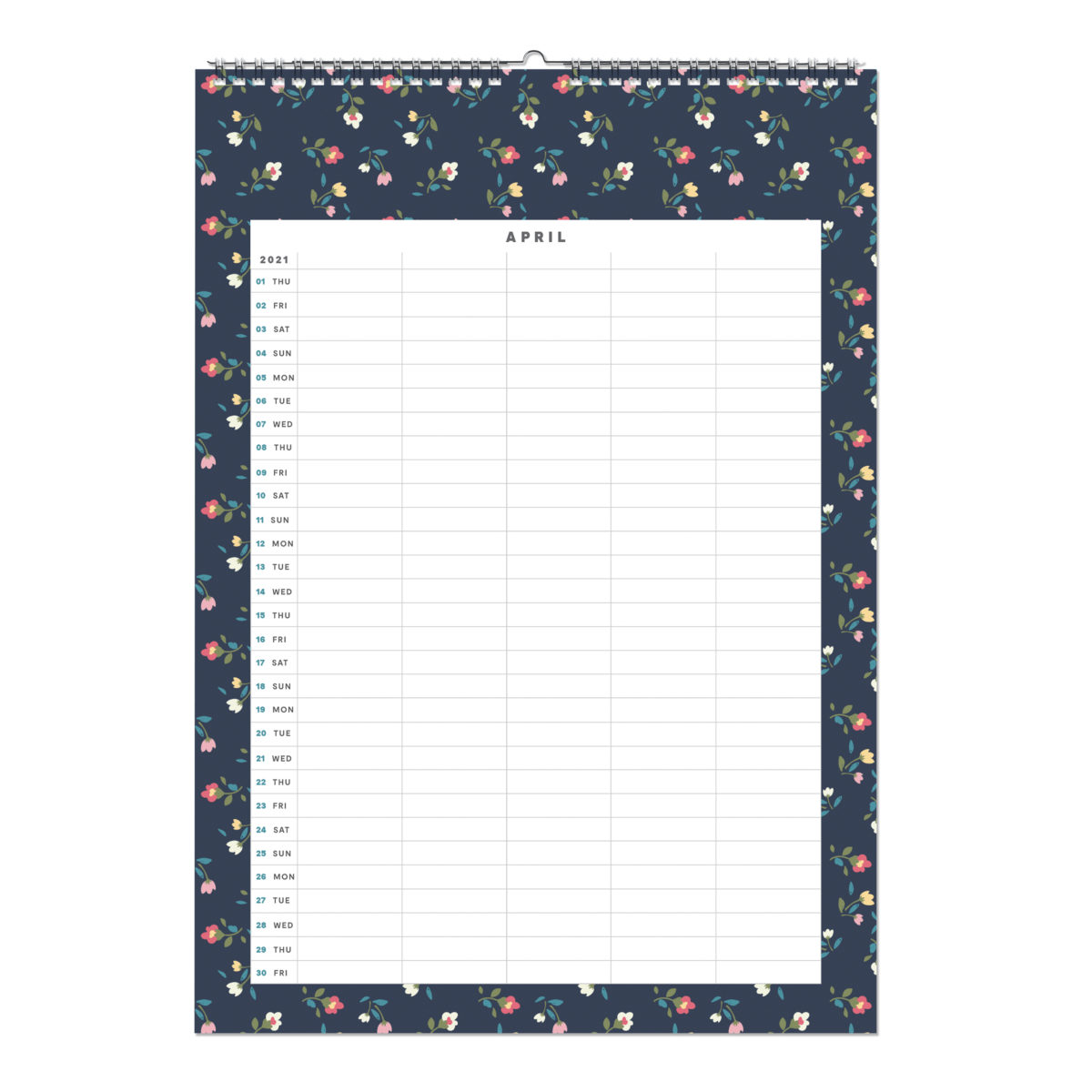 Flower 2021 Monthly Wall Calendar A3