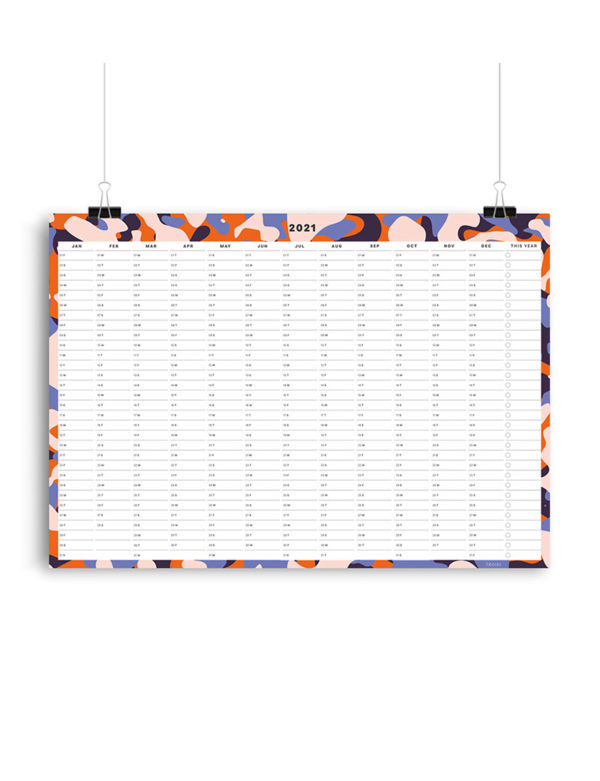 Abstract 2021 Wall Planner, A1 Size Wall Planner & Calendar