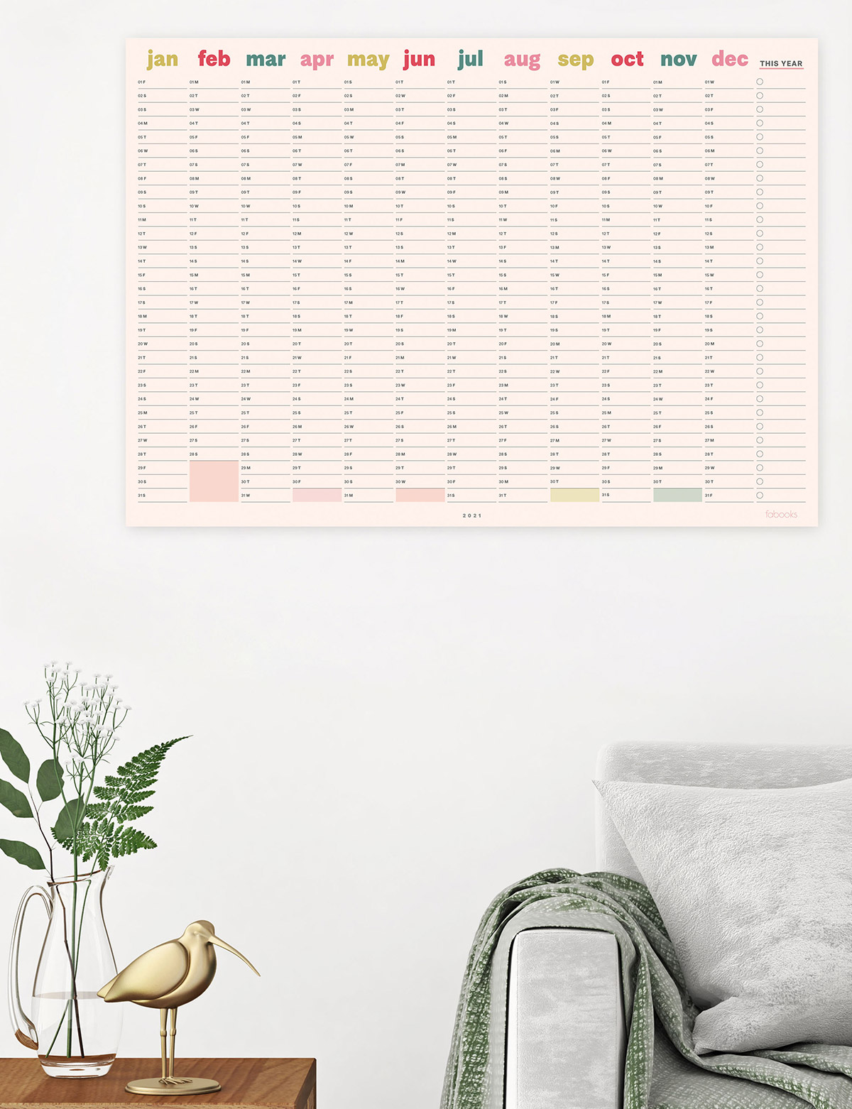 Colourful 2021 Wall Planner - New Year Calendar
