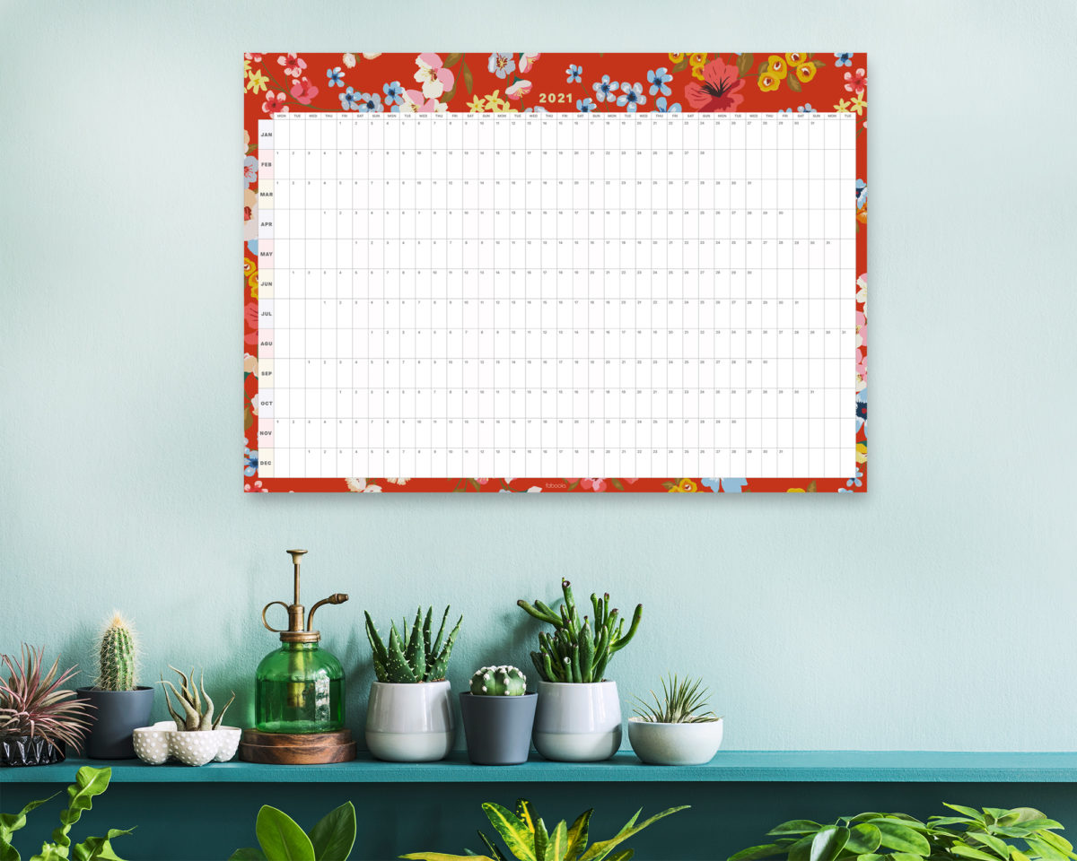 Red Floral 2021 Wall Planner, A1 Size Wall Planner & Calendar
