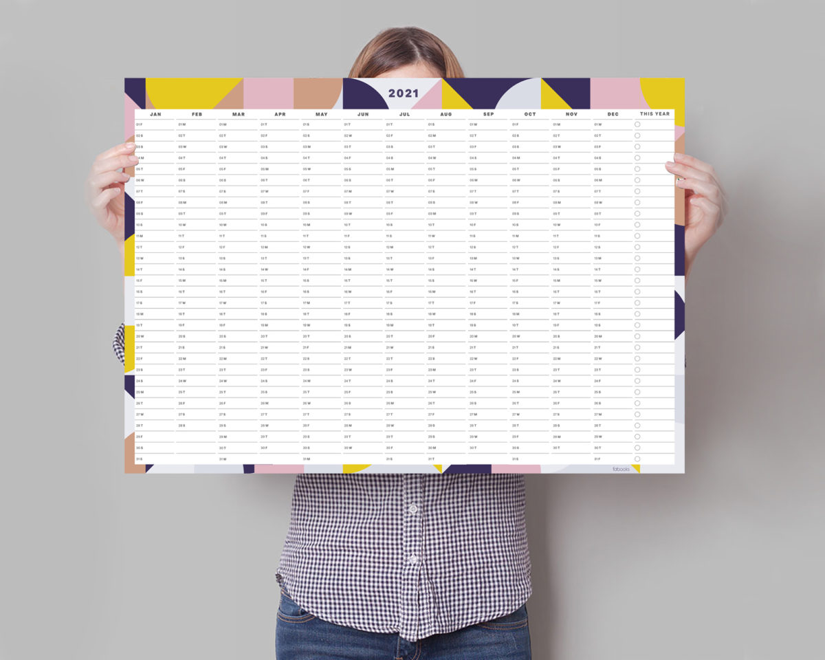 Geometric 2021 Wall Planner, A1 Size Wall Planner, Yearly Calendar, Wall Calendar 2021