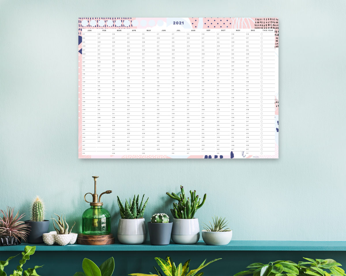 Pink Geometric 2021 Wall Planner, A1 Size Wall Planner, Yearly Calendar, Wall Calendar 2021