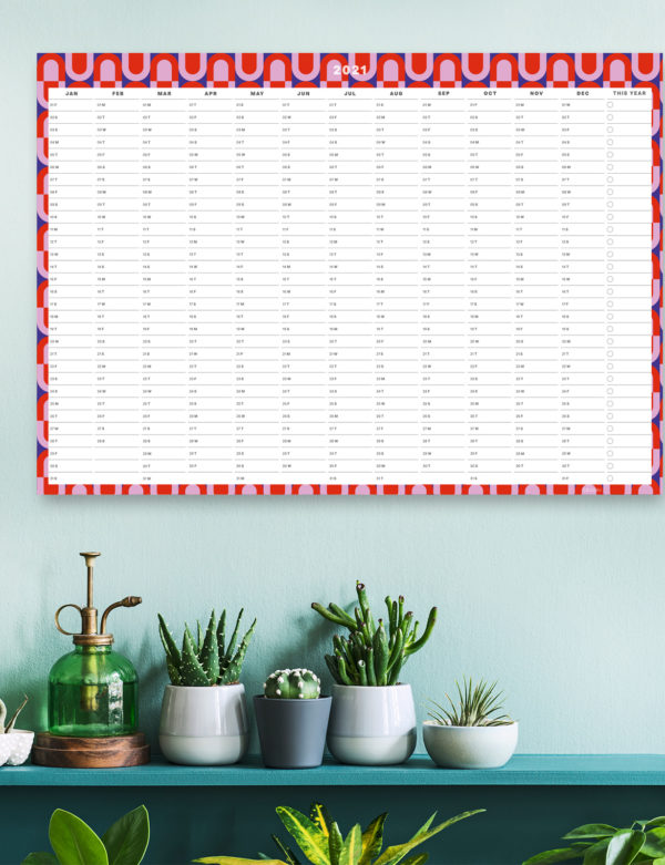 Modern Geometric 2021 Wall Planner, A1 Size Wall Planner & Calendar