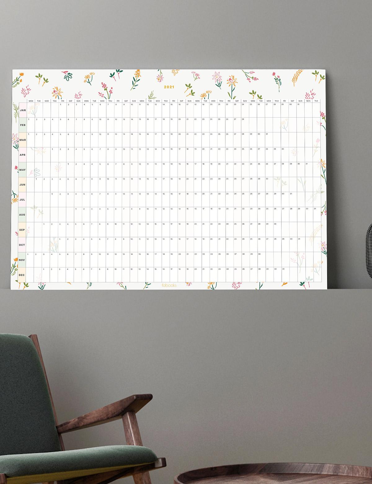 Mini Flowers 2021 Wall Planner - New Year Calendar