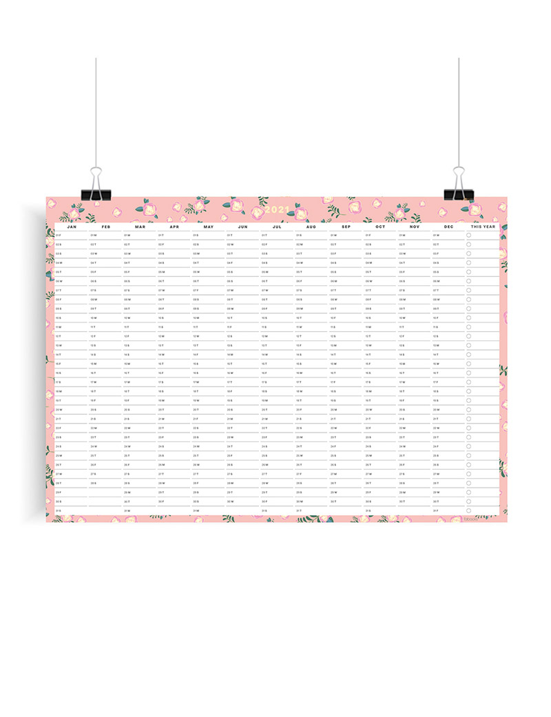 Pink Tiny Floral 2021 Wall Planner, A1 Size Wall Planner & Calendar