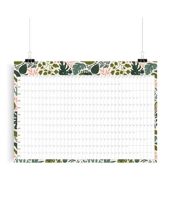 Tropical Leaves 2021 Wall Planner, A1 Size Wall Planner, Yearly Calendar, Wall Calendar 2021