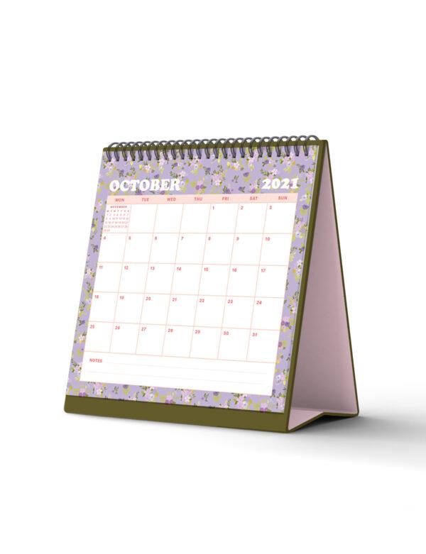 Floral Mini Standing Desktop Calendar 2021